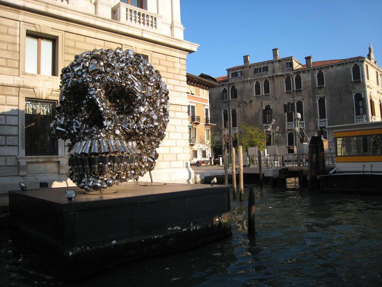 skull sculpture outside the venice modern museum venice italy