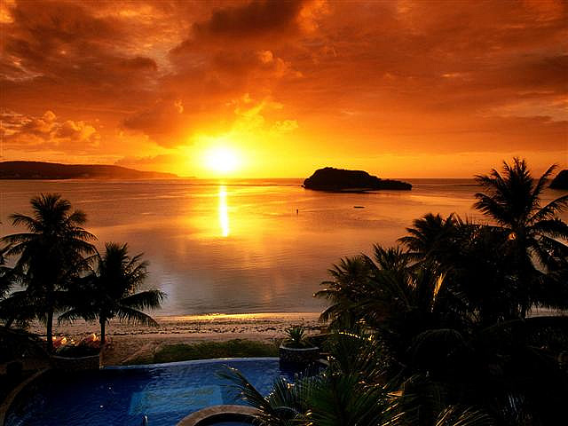Guam island sunset view